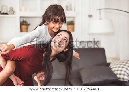 Boldog anya gyermek malac hát gyermekkor Stock fotó © dolgachov