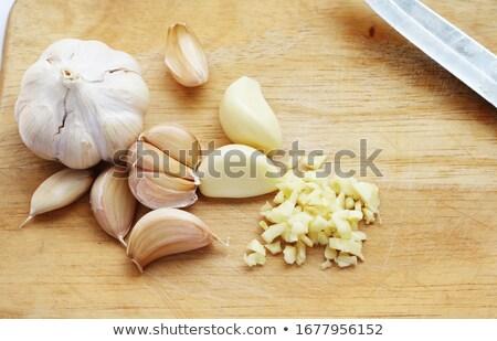 Photo stock: Haché · ail · couteau · alimentaire · bois
