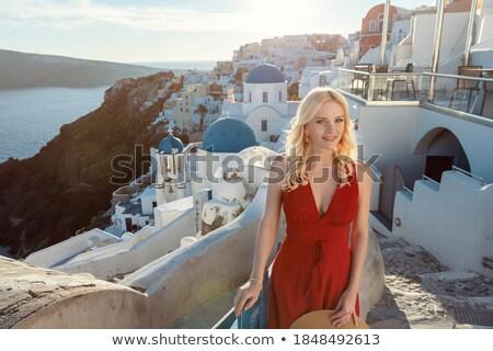 heureux · touristiques · femme · santorin · île · Grèce - photo stock © nejron