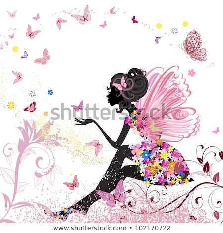 fairy · meisje · vlinder · vleugels · jonge · roze - stockfoto © pugovica88