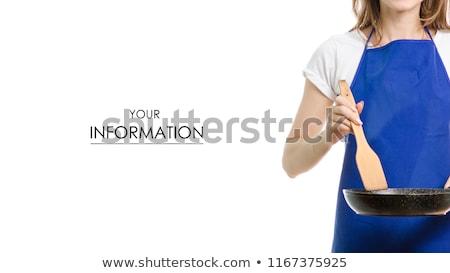 Huisvrouw houden spatel jonge asian schort Stockfoto © elwynn