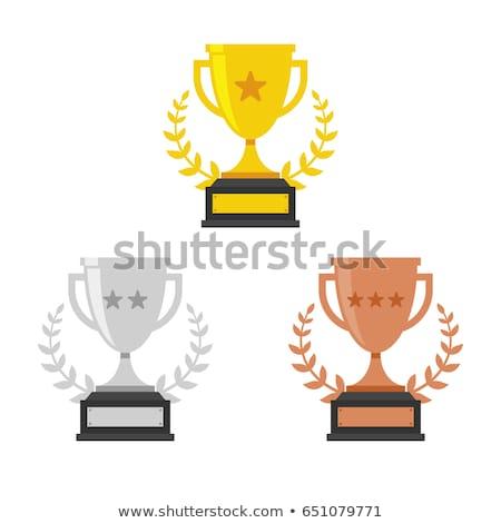 Bronzen trofee derde plaats glazig business Stockfoto © tilo