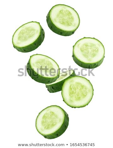 dilimleri · yeşil · salatalık · beyaz · grup · kesmek - stok fotoğraf © cwzahner