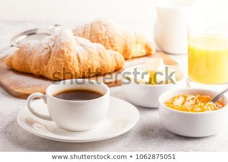 Kontinentális reggeli croissant lekvár kávé narancslé háttér Stock fotó © raphotos