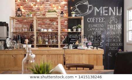 Kávézó sziluettek emberek pincér étel kávé Stock fotó © Vg