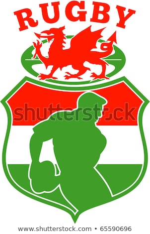 rugby ball wales red welsh dragon shield Stock photo © patrimonio