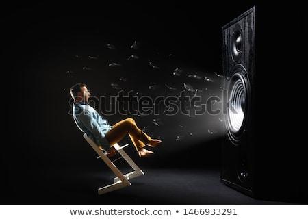 acústico · alto-falante · fogo · água · isolado · preto - foto stock © rastudio