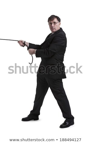 Full length portrait of a man pulling rope over white background Stock photo © deandrobot