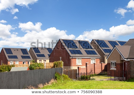Napelemek vidék fotovoltaikus installáció zöld mező Stock fotó © hraska