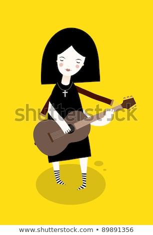 かなり · 少女 · ギター · クール · 十代の少女 · ミュージシャン - ストックフォト © lironpeer