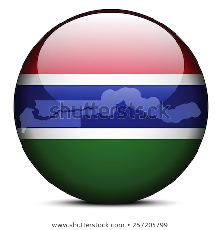 Stock photo: Map with Dot Pattern on flag button of Republic of The Gambia