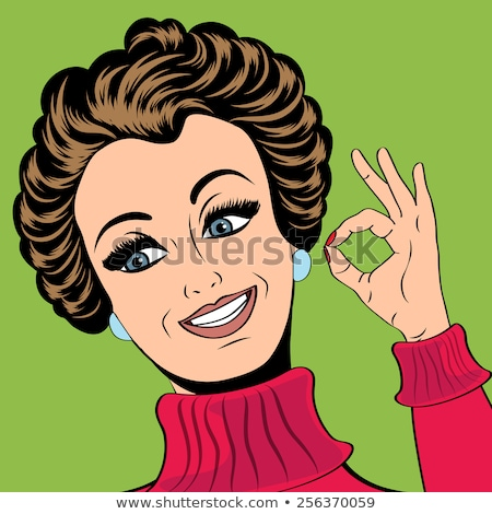 pop art cute retro woman in comics style making ok sign stock photo © balasoiu