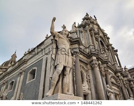 Cathedral facade, Cappella di Sant Agata - built in XI century, Italy, Sicily, Catania, Duomo Square Stock photo © ankarb