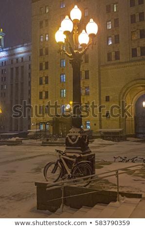 Kar bisiklet tırabzan kış arka plan Stok fotoğraf © meinzahn