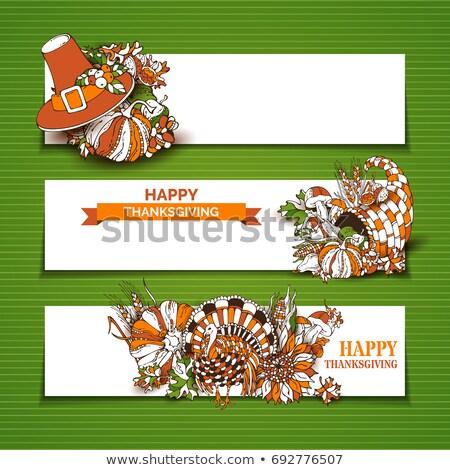 Ação de graças fronteira imagem ilustração convite cartão Foto stock © Irisangel