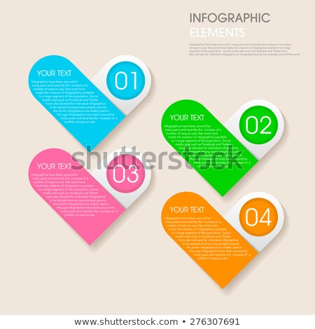 modern vector abstract step heart lable infographic elements stock photo © jiunnn