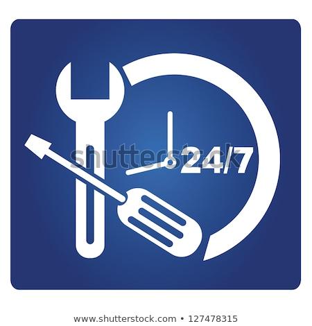24 hizmetleri mavi vektör düğme ikon Stok fotoğraf © rizwanali3d