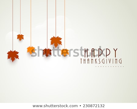 Thanksgiving Greeting Card with a Green Label and Autumn Leaves stock photo © cajoer