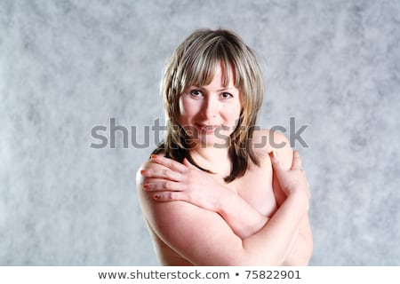 Foto stock: Topless Woman Body Covering Her Big Breast