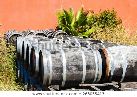casks in front of wine cellar, Languedoc-Roussillon, France Stock photo © phbcz