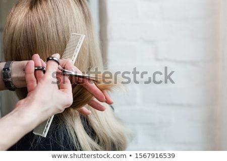 close up of male stylist with brush at salon Stock photo © dolgachov