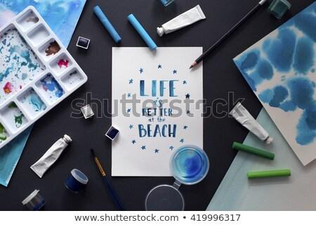 Travel word painted and brush stock photo © fuzzbones0