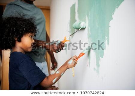 ребенка Живопись работу играет пальца цветы Сток-фото © jeancliclac