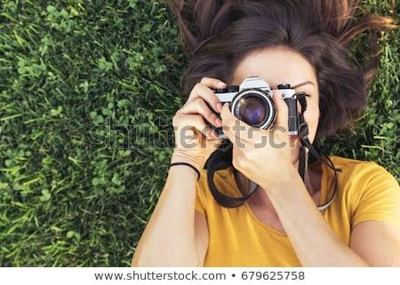брюнетка женщину аналоговый камеры великолепный молодые Сток-фото © lithian