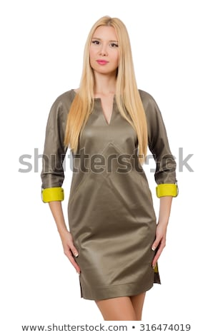 Blondie in gray satin dress isolated on white Stock photo © Elnur