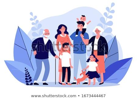 family with dog vector Stock photo © Paha_L