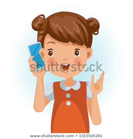 Portrait of a cute little girl talking on the phone stock photo © deandrobot