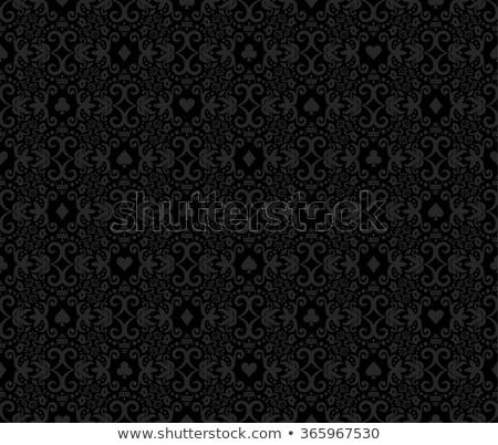 black seamless poker background with white damask pattern and cards symbols stock photo © liliwhite