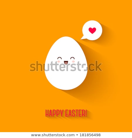 Funny colorful easter eggs with a speech bubble Stock photo © orson