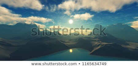 3d mountain landscape with sunset stock photo © kjpargeter