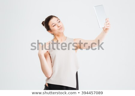 Mujer de negocios toma tableta pato cara Foto stock © deandrobot