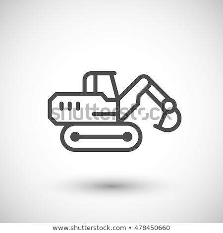 Bányászat ipari merítőkanál vonal ikon sarkok Stock fotó © RAStudio
