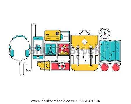 turista · hátizsákos · turista · telefon · vonal · ikon · háló - stock fotó © rastudio