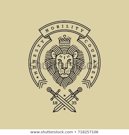 lion head swords emblem illustration Stock photo © Zuzuan