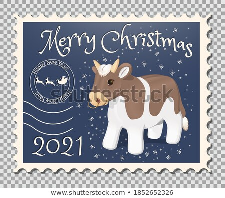 Chinese zodiac postage Stamp: year of the ox Stock photo © myfh88