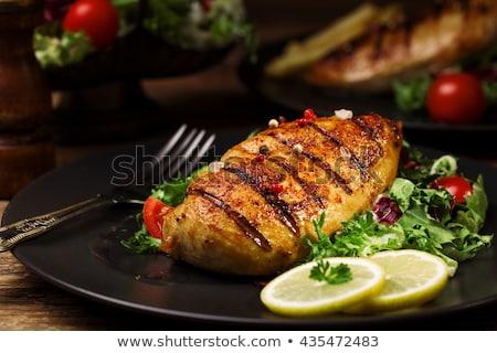 Pechuga de pollo patatas ensalada verde pollo Foto stock © Digifoodstock