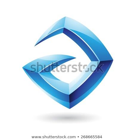 3D scherp glanzend Blauw logo icon Stockfoto © cidepix