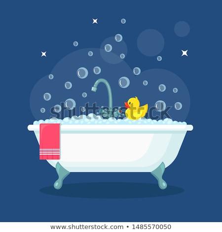 かわいい 漫画 バスタブ 泡風呂 泡 ストックフォト © adrian_n
