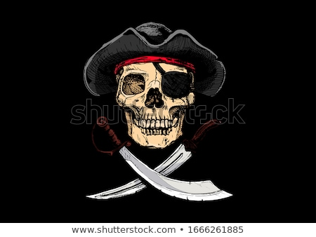 jolly roger pirate flag skull and crossbones skeleton head in stock photo © popaukropa