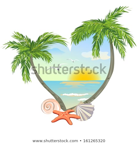 heart shaped tropical beach and palm tree icon stock photo © adrian_n