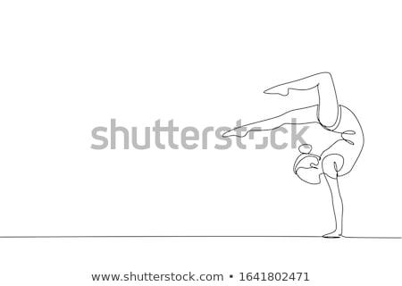 eenvoudige · tekening · meisje · illustratie · school · gelukkig - stockfoto © bluering