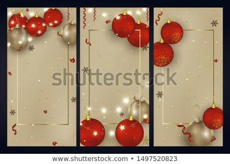 Stock fotó: Piros · fekete · ajándékutalvány · arany · karácsony · golyók