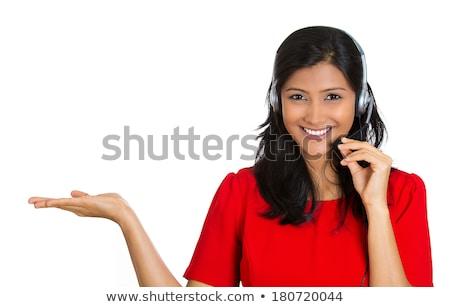 mooie · positief · vrouwelijke · call · center · agent · werk - stockfoto © dash