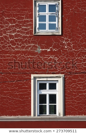 detail of old retro window with cracks and lace curtains stock photo © klinker