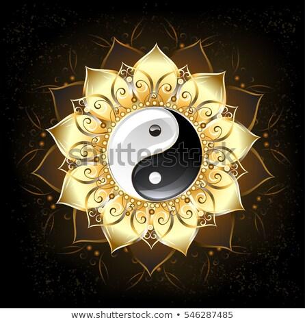 Yin yang arany lótusz szimbólum rajzolt szirmok Stock fotó © blackmoon979