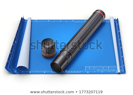 architectural plans project drawing with blueprints rolls stock photo © dfrsce